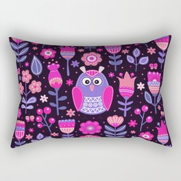 Midnight Pink Purple Owl Pattern Girls Animal Rectangular Pillow