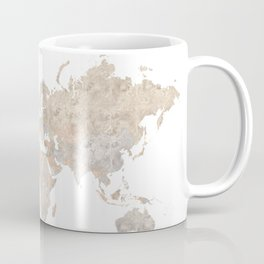 "World map in gray and brown watercolor ""Abey"" Coffee Mug"
