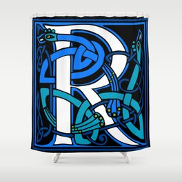 Celtic Peacocks Letter R Shower Curtain