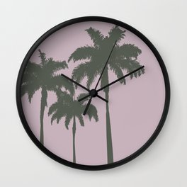 Palm trees illustration on pink background Wall Clock