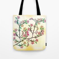 cherry blossoms Tote Bags featuring Cherry Blossoms by famenxt