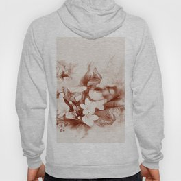 Sepia toned tropical flowers and butterflies Hoody