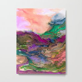 BRING ON BOHEMIA 1 Bold Rainbow Colorful Watercolor Abstract Metallic Accent Summer Peach Pink Green Metal Print