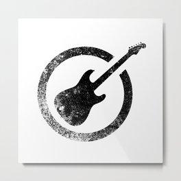 Black Ink Stamp Guitar Metal Print