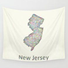 New Jersey map Wall Tapestry