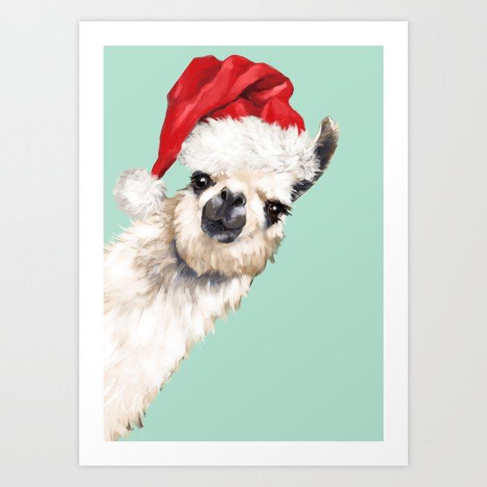 Christmas Sneaky Llama Art Print