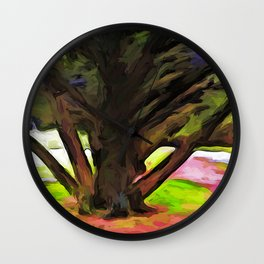 Avenue of Trees at the end of a Rainbow 1 Wall Clock