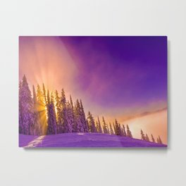winter mountain sky forest gradient 0278 Metal Print