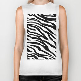modern safari animal print black and white zebra stripes Biker Tank