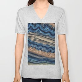 Blue agate with warm crystals Unisex V-Neck