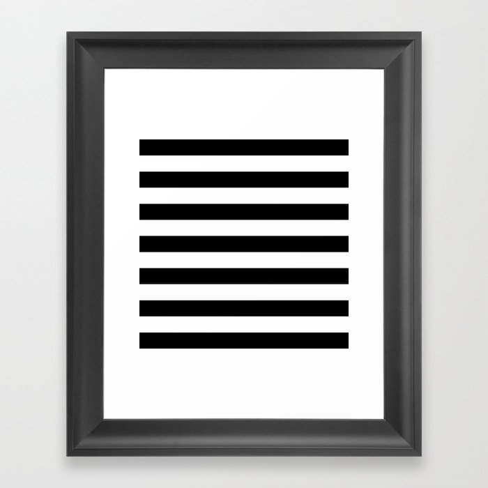 Horizontal stripes black white framed art print