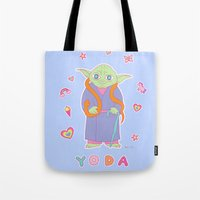 sticker Tote Bags featuring Yoda Sticker Magic by Noel ILL
