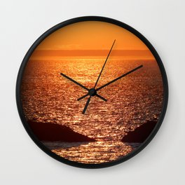 Orange Skies at Sunset Wall Clock