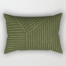 Lines (Olive Green) Rectangular Pillow