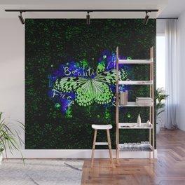 butterfly beautiful strong free splatter watercolor blue green Wall Mural