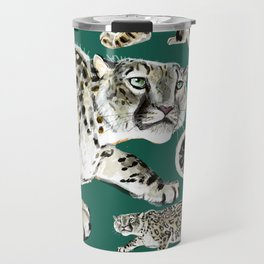 Snow leopard in green Travel Mug