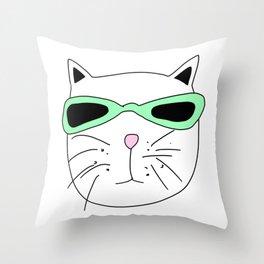 Cat Mint Sunglasses Throw Pillow