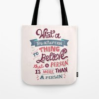 paper towns Tote Bags featuring Paper Towns: Treacherous Thing by Risa Rodil