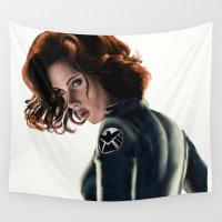 black widow Wall Tapestries featuring Black Widow by Christine Tromop