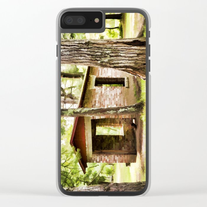 Abandoned brick building in the woods Clear iPhone Case