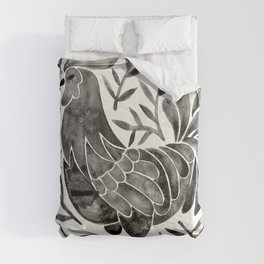 Le Coq – Watercolor Rooster with Black Leaves Comforters