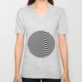 Black and White Pop Art Optical Illusion Lines Unisex V-Neck