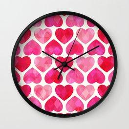 RUBY HEARTS Wall Clock