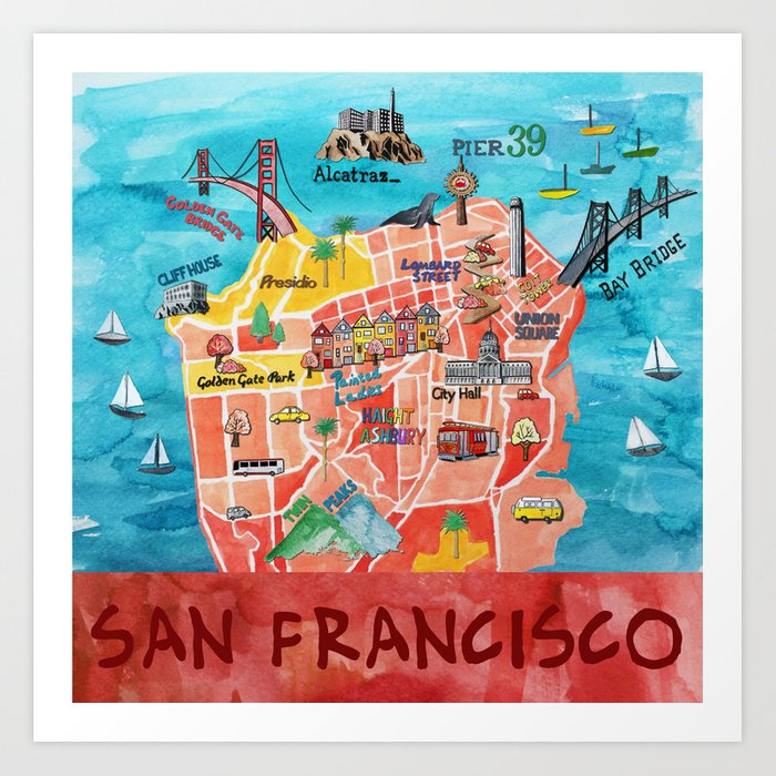 San Francisco Illustrated Map Art Print by poppycraig on northern ca map, california map, las vegas map, tokyo map, san diego, sausalito map, new orleans map, boston map, los angeles map, golden gate park map, united states map, london map, berkeley map, usa map, bay area map, chicago map, omaha map, detroit map, sydney australia map, dallas map, new york map, salt lake city map, kansas city map,