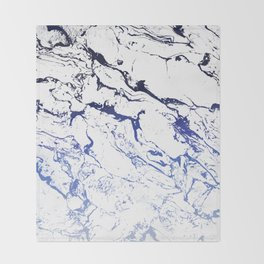 Modern white marble blue ombre navy blue watercolor gradient fade Throw Blanket