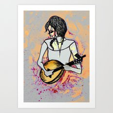 Girl with Mandolin Art Print