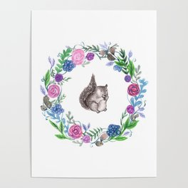 Squirrel and Wreath Watercolor Poster