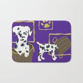 Purple puppy antics | Puppies at play Bath Mat