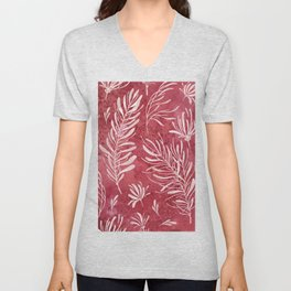 Modern abstract watercolor burgundy red blush pink leaves  Unisex V-Neck