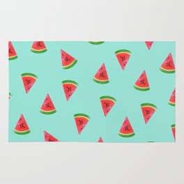 Watermelon Slices Green Pattern Rug