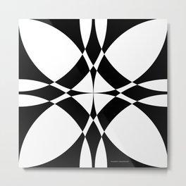 Abstract Circles - Black & White Metal Print