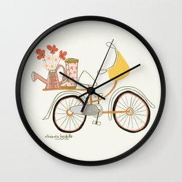 Floral Bicycle & Rain Boots Art Print Wall Clock