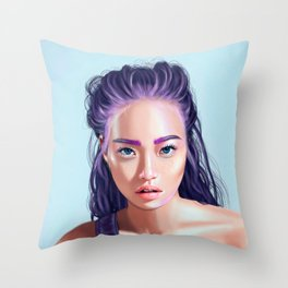 Beautiful Asian girl with colored hair. Throw Pillow