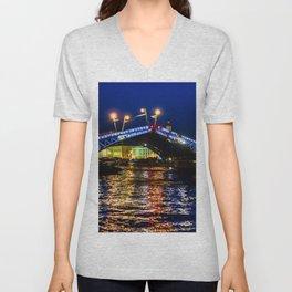 Raising bridges in St. Petersburg Unisex V-Neck