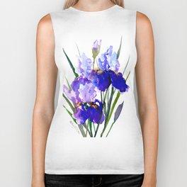 Garden Irises, Blue Purple Floral Design Biker Tank