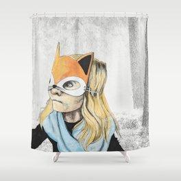 Fox Mask Girl Shower Curtain