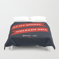 gladiator Duvet Covers featuring Gladiator blu red by 16floor