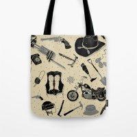 walking dead Tote Bags featuring Artifacts: Walking Dead by Josh Ln