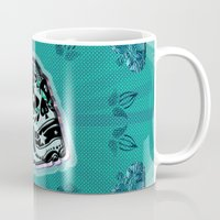 sarcasm Mugs featuring Sarcasm skull on pillow by NENE W