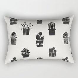 Southwestern Stamped Potted Cactus + Succulents Rectangular Pillow
