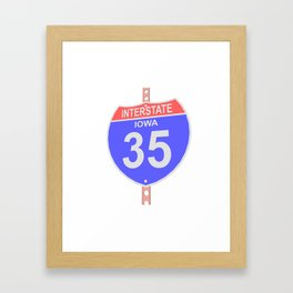 Interstate highway 35 road sign in Iowa Framed Art Print