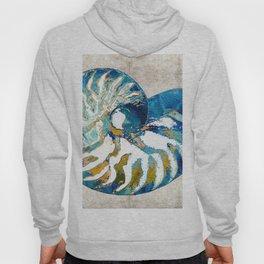 Beachy Art - Nautilus Shell Bleu - Sharon Cummings Hoody