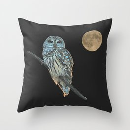 Owl, See the Moon (Barred Owl) Throw Pillow