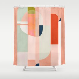 shapes modern mid-century peach pink coral mint Shower Curtain