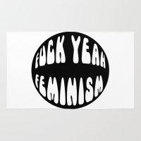 feminism Area & Throw Rugs featuring F*ck Yeah Feminism by Elanor Jarque