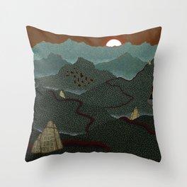 mountain system Throw Pillow